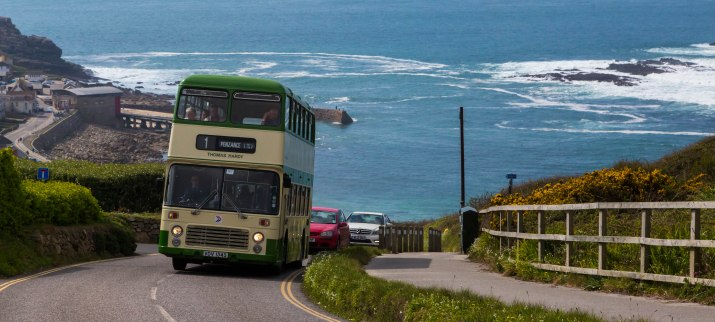 Bristol VRT 'Thomas Hardy' VDV 134S, preserved by North Somerset Coaches, climbs out of Sennen Cove whilst working service 1 Lands End-Penzance during the 'VR Revival' running day. 19/04/15